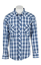 Wrangler Men's L/S Blue, Grey, and White Western Snap Shirt - Big & Tall