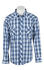 Wrangler Men's L/S Blue, Grey, and White Western Snap Shirt