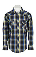 Wrangler Men's L/S Navy, Yellow, and Blue Plaid Western Snap Shirt - Big & Tall