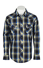 Wrangler Men's L/S Navy, Yellow, and Blue Plaid Western Snap Shirt