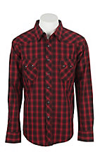 Wrangler Men's L/S Red and Black Plaid Western Snap Shirt - Big & Tall