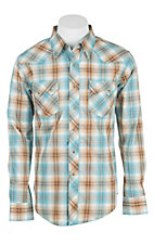 Wrangler Men's L/S Green and Khaki Plaid Western Snap Shirt