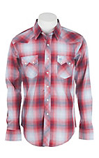 Wrangler Men's Red and Grey Plaid L/S Western Snap Shirt