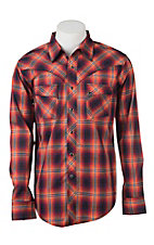 Wrangler Men's Orange and Blue Plaid L/S Western Snap Shirt