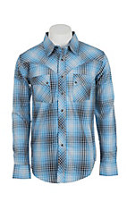 Wrangler Men's Blue Plaid L/S Western Snap Shirt