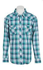 Wrangler Men's Teal and White Plaid Long Sleeve Western Snap Shirt