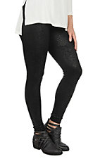 One 5 One Women's Black Snake Print Fleece Lined Leggings