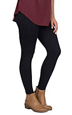 One 5 One Women's Black Cable Fleece Lined Leggings