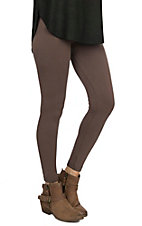 One 5 One Women's Brown Basket Weave Fleece Leggings