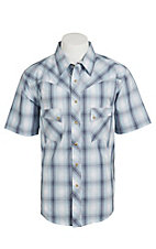 Wrangler Men's Vintage Blue & Grey Plaid Western Shirt