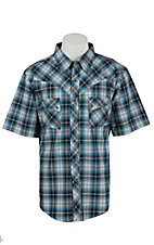 Wrangler Men's Vintage Turquoise & Black Plaid Western Shirt