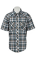 Wrangler Men's Vintage Teal & Khaki Plaid S/S Western Shirt