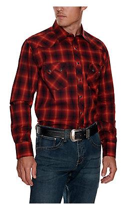 Wrangler Retro Men's Red with Orange and Black Plaid Long Sleeve Shirt