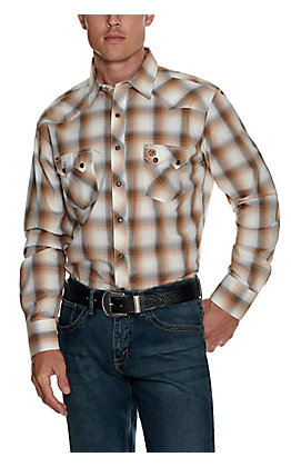 Wrangler Retro Men's Brown and Grey Plaid Long Sleeve Shirt