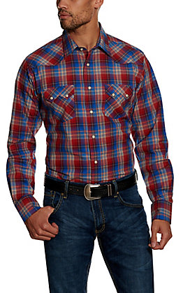Wrangler Retro Men's Red Plaid Long Sleeve Western Shirt