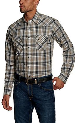 Wrangler Retro Men's Black Plaid Long Sleeve Western Shirt