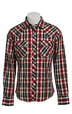 Wrangler Men's Red and Black Plaid Fashion Snap Western Shirt