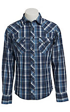 Wrangler Men's Blue and White Plaid Fashion Snap Western Shirt