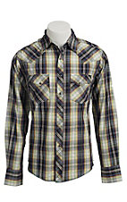 Wrangler Men's Blue, Green, and Yellow Fashion Snap Western Shirt