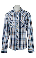Wrangler Men's Blue Plaid Fashion Snap Western Shirt