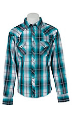 Wrangler Men's Teal Plaid Fashion Snap Western Shirt