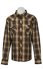 Wrangler Men's Moss Brown Plaid Fashion Snap Western Shirt