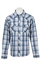 Wrangler Men's L/S Blue, White, and Grey Plaid Western Shirt - Big & Tall