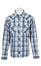 Wrangler Men's L/S Blue, White, and Grey Plaid Western Shirt