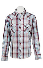 Wrangler Men's L/S Blue, Purple, White, and Grey Plaid Western Shirt - Big & Tall