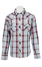 Wrangler Men's L/S Blue, Purple, White, and Grey Plaid Western Shirt