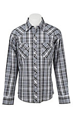Wrangler Men's L/S Black, Grey, and White Plaid Western Shirt - Big & Tall