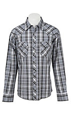 Wrangler Men's L/S Black, Grey, and White Plaid Western Shirt