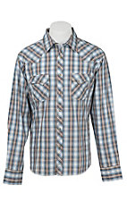Wrangler Men's L/S Brown and Blue Plaid Western Snap Shirt