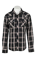Wrangler Men's L/S Black, White, and Burgundy Plaid Western Snap Shirt