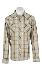 Wrangler Men's L/S Khaki and Black Plaid Western Snap Shirt