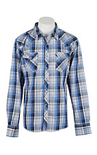 Wrangler Men's L/S Blue, Tan, and White Plaid Western Snap Shirt