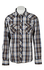 Wrangler Men's L/S Brown, White, and Navy Plaid Western Snap Shirt