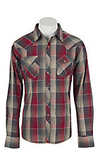 Wrangler Men's L/S Red, Grey, and Tan Plaid Western Snap Shirt
