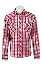Wrangler Men's Red and White Plaid L/S Western Snap Shirt