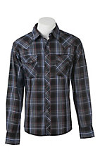 Wrangler Men's Black and Khaki Plaid L/S Western Snap Shirt
