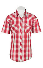 Wrangler Men's Red Plaid Western Snap Shirt