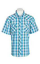 Wrangler Men's Blue Plaid S/S Western Shirt MVG1559