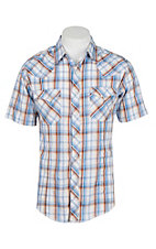 Wrangler Men's Blue Plaid Western Snap Shirt