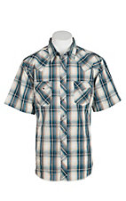 Wrangler Men's Teal and Khaki Plaid S/S Western Shirt MVG1589