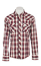 Wrangler Men's Red & Khaki Plaid L/S Western Snap Shirt