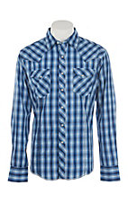 Wrangler Men's Blue, Black & White Plaid L/S Western Snap Shirt