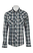 Wrangler Men's Blue & Grey Plaid L/S Western Snap Shirt