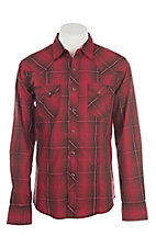 Wrangler Men's Red & Black Plaid L/S Western Snap Shirt