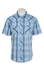Wrangler Men's Blue and Turquoise Plaid Short Sleeve Western Snap Shirt