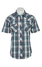 Wrangler Men's Teal and Red Plaid Short Sleeve Western Snap Shirt